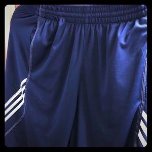 Adidas 3 Stripes athletic shorts (white on navy)